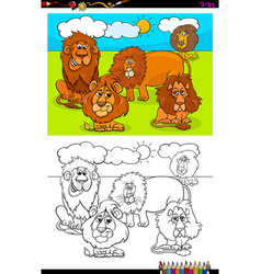 Lions animal characters group color book vector
