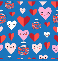 lovely seamless festive pattern funny hearts vector image