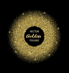 Luxury golden glitter round frame vector