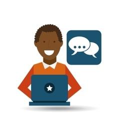 Man afroamerican using laptop bubble speech media vector