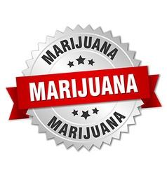 Marijuana 3d silver badge with red ribbon vector
