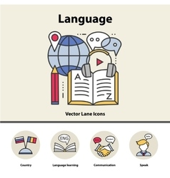 Modern thin line icons of learning foreign vector