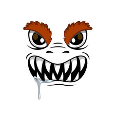 Monster face with hairy eyelids cartoon icon vector
