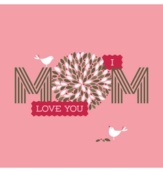 Mothers day card with two cute birds vector
