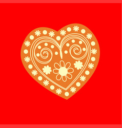 patterned yellow heart on a red background vector image