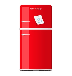 Red retro fridge with paper note vector image