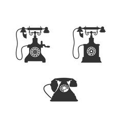 retro phone icon set vector image