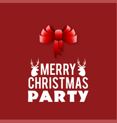 ribbon banner christmas party red background vector image