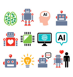 Robot artificial intelligence ai cyborg icons vector