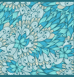 seamless floral green hand drawn doodle pattern vector image