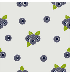 seamless pattern with blueberries and leaves on vector image