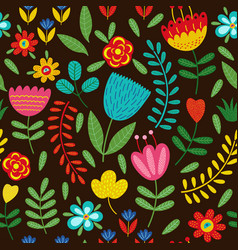 Seamless pattern with flowers on black background vector