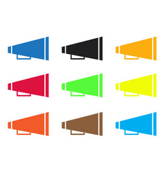 Set cheer megaphone icons on white background vector