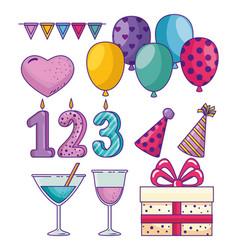 set happy birthday decoration to celebrate holiday vector image