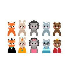 set kawaii animal portraits vector image