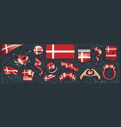 set national flag denmark in vector image