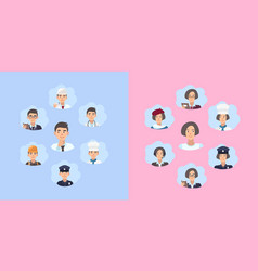 Set of career choice concept young guy and girl vector