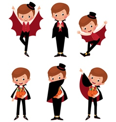Set of Halloween vampire in various poses vector