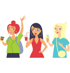 set of three girls hipsters characters vector image