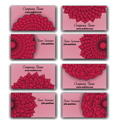 Set of vivid red business cards vector