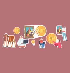 Set stickers non fungible token theme vector