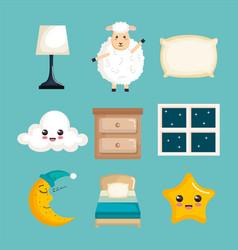 sleep time icons flat set with vector image