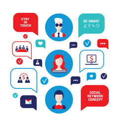social network concept people avatars with speech vector image