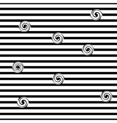 Striped and spiral seamless pattern vector image