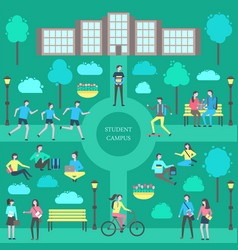 Student campus teenagers poster vector