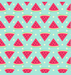 sweet watermelon seamless pattern with polka dot vector image