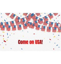 Usa garland flag with confetti on transparent vector