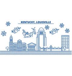 Usa kentucky louisville winter city skyline vector