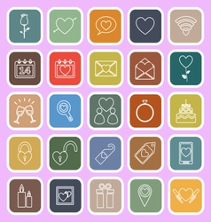 Valentines day line flat icons on pink background vector image