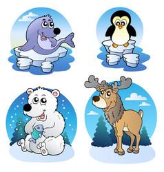 Various cute winter animals vector