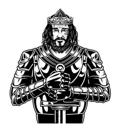 Vintage brave bearded king warrior vector