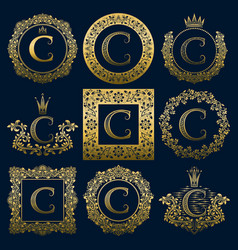 Vintage monograms set of c letter vector