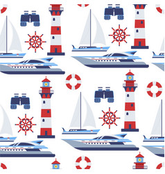 water transport sail vessels and beacon seamless vector image