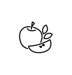 web line icon apple black on white background vector image