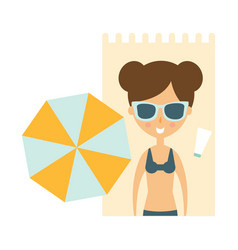 Woman laying on blanket on sand under umbrella vector