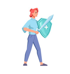 Woman with medical shield and sword fight viruses vector