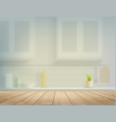 wooden table on a defocused kitchen bench vector image