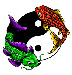 ying yang symbol with koi fishes vector image