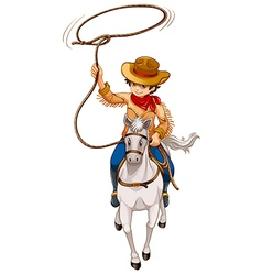 A boy riding a horse with a hat and a rope vector image