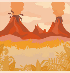 a red forest landscape with volcano and jungle vector image