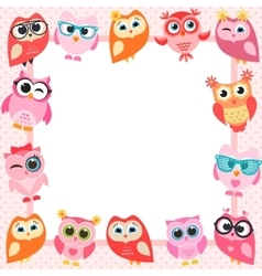 frame with funny owls vector image