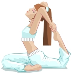King pigeon pose Beautiful girl yoga Yoga asana vector image