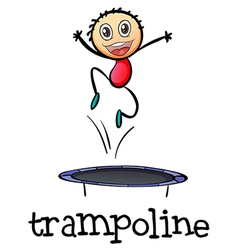 A young boy playing with the trampoline vector image vector image