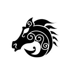 black heraldic horse head vector image vector image