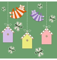 March cats fly over starling houses vector