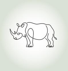 Rhinoceros in minimal line style vector image